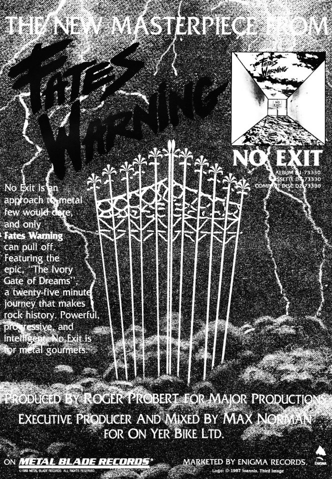 Fates Warning ad (inside back page)