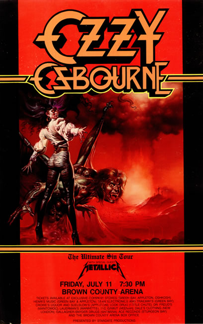 Ozzy Osbourne-The Ultimate Sin 86 tour posterOzzy Osbourne The Ultimate Sin