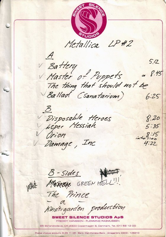 Orig. Metallica Master of Puppets recording notes...Frozen in Time since 85'!